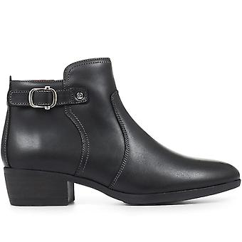 Pikolinos Womens Leather Stacked Heel Ankle Boot