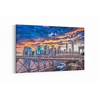 Schilderij - Brooklyn Bridge bij zonsondergang — 90x60cm