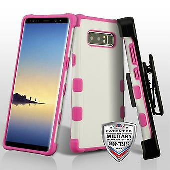 MYBAT Natural Cream White/Hot Pink TUFF Merge Hybrid Protector Cover (avec Black Horizontal Holster) pour Galaxy Note 8