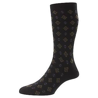 Pantherella Hanley Tile Motif Merino Wool Socks - Preto