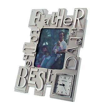 GTP To The Best Dad/Father Photo Frame Chrome Plated on Alloy Novelty Desktop Collectors Miniature Clock IMP417S