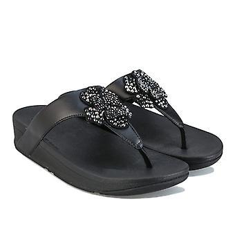 Femenil Fit Flop Lottie Corsage Toe Tangas en negro