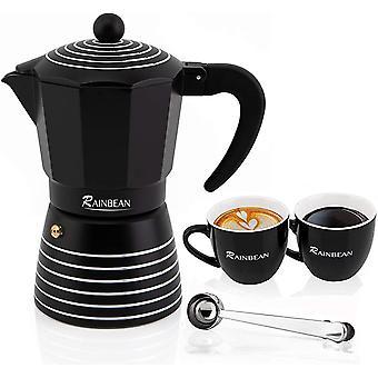 Gerui Espresso Maker 6 CUP Moka Pot, Steam Italian Stovetop Coffee Makers Percolator, Aluminum Ripple