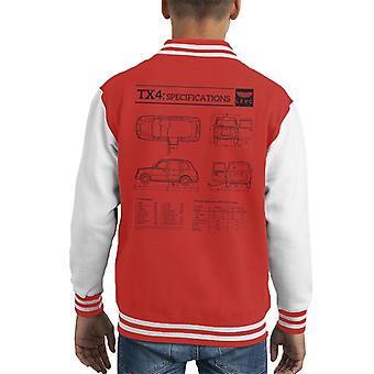 London Taxi Company TX4 Specifikationer Blueprint Kid's Varsity Jacket