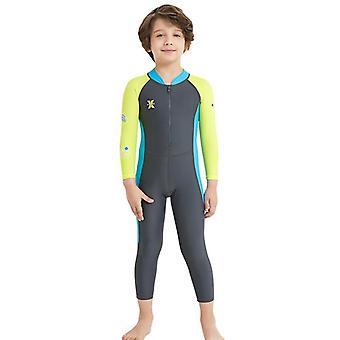 الأطفال wetsuit طويلة الأكمام قطعة واحدة الأشعة فوق البنفسجية حماية ملابس السباحة الحرارية dfse-11