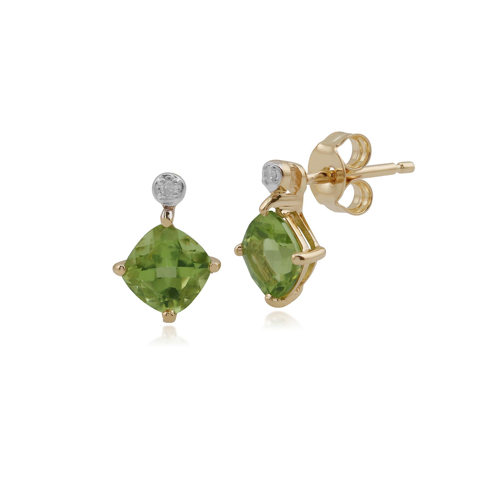 Gemondo 9ct Yellow Gold 1.26ct Peridot & Diamond Stud Earrings