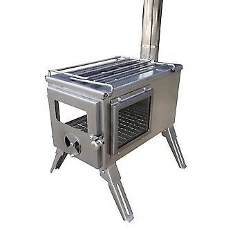 Outbacker® firebox 'flame'clear view stufa tenda portatile in acciaio inossidabile - robens tipi kit
