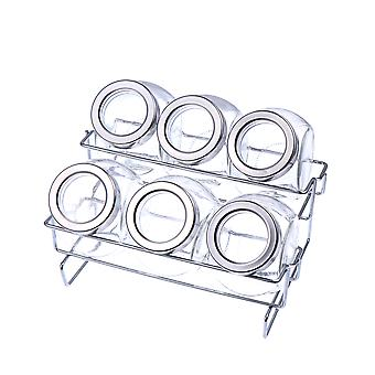 Transparent Kitchen Supplies Glass Cruet Set Sealed Can Rack Double Layer Spice Rack With Six Round Bottles