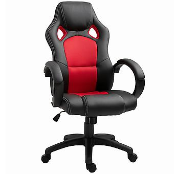 HOMCOM High-Back Gaming Chair Swivel Home Office Computer Racing Gamer Desk Chair Faux Leather with Wheels, Black Red