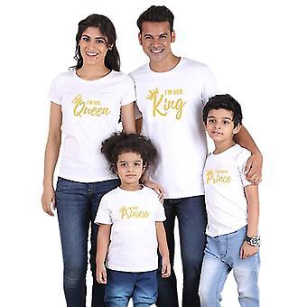 Perhe yhteensopiva vaatteet, asut näyttävät Isä Äiti Kruunu T-paita