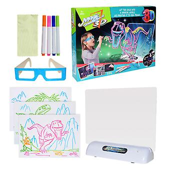 3D fluorescent drawing board children's drawing toy LED drawing board colorful flashing graffiti board ocean space dinosaur