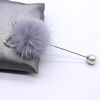 Rabbit Real Mink Hair Fur Ball Brooch Pins,  Fur Ball Piercing Lapel Brooches,