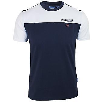 Napapijri men's medieval blue colour block s-ice t-shirt