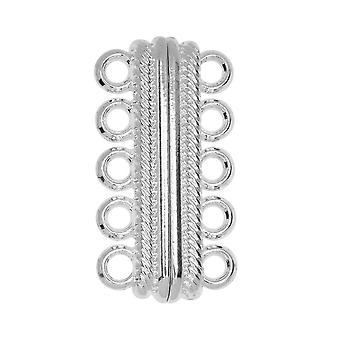 Magnetic Clasps, 5-Strand Bar with Rope Edge 33x8mm, 1 Set, Silver Tone Brass