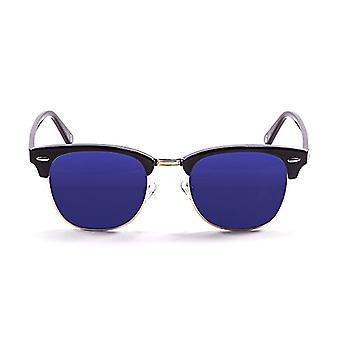 Ocean Sunglasses Mr. Bratt, Polarized Sunglasses, Frame: Bright Black, Lenses: Mirrored Blue, 70001.1