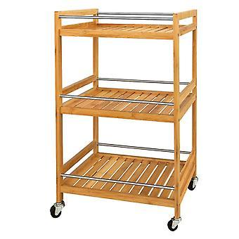 Carros de almacenamiento de cocina SoBuy bambú 3 niveles con ruedas, FKW11-N