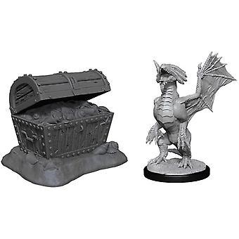 D&D Nolzurs fantastiska miniatyrer (W13) Bronsdrake Wyrmling&Pile of SeaFound Treasure