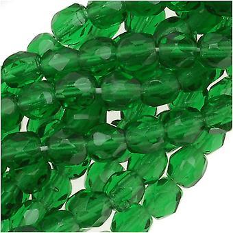 Tšekin palokiillotetut lasiset läjät 4mm pyöreä smaragdi (50)