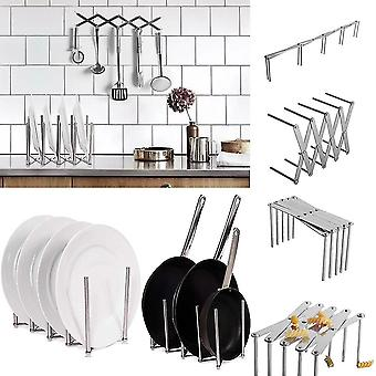 Kitchen Organizer Pot Lid Rack Extended Stainless Steel Spoon Plate Holder Shelf Cooking Dish Tray