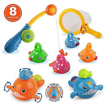 Bath Toys Mold Free Fishing Games Swimming Whales Table Pool(8PCS)