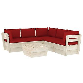 vidaXL 6-tlg. Garten-Sofagarnitur aus Paletten mit Kissen Fichtenholz