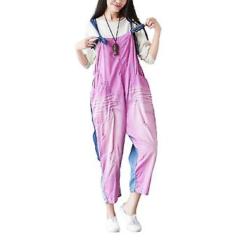 Pink Coloured Stitching Adjustable Ripped Overalls