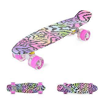 Byox Kids Skateboard Stars 22 tums LED, 85A PU-hjul, ABEC 7, upp till 85 kg