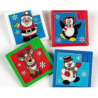 LAST FEW - 12 Christmas Slide Puzzles Party Bag Fillers for Children