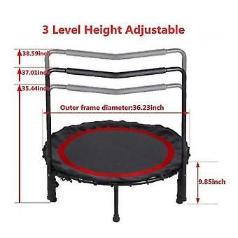 Foldbar mini trampolin, fitness trampolin med justerbar gelænder og sikkerhedspad