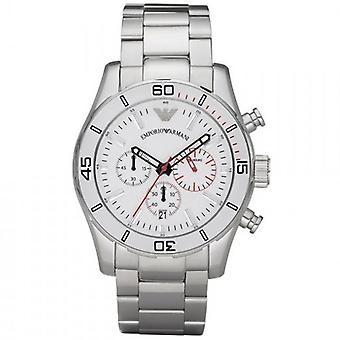 Reloj de Emporio Armani AR5932 esfera blanca acero inoxidable pulsera Luxe hombres XL