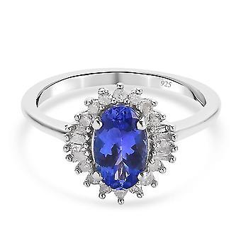 Tansanit Halo Ring Platin plattiert Silber Jubiläumsgeschenk Weißer Diamant 1.44ct