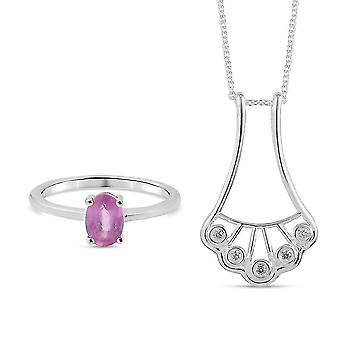 7-kabale, Vedhæng Smykker Sæt til kvinder Pink Safir i Sølv Zircon 1.08ct