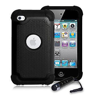 Odporny na wstrząsy Case Cover + Rysik dla Apple iPod Touch 4 - czarny