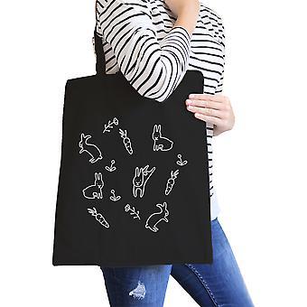 Rabbit Pattern Black Canvas Bag Cute Easter Bunnies Tote Bags