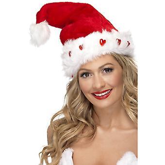 Santa Hat plush blinking light up Nicholas Hat Christmas