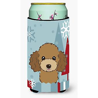 Winter Holiday Chocolate Brown Poodle Tall Boy Beverage Insulator Hugger
