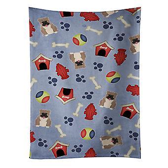 犬ハウス コレクション英語ブルドッグ ブリンドル灰色のキッチン タオル