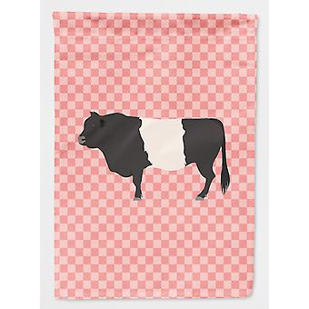 Carolines Treasures  BB7831GF Belted Galloway Cow Pink Check Flag Garden Size