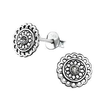 Bali Round - 925 Sterling Silver Crystal Ear Studs - W31070X