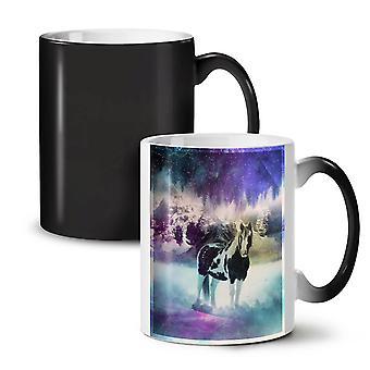 Horse Space Nature NEW Black Colour Changing Tea Coffee Ceramic Mug 11 oz | Wellcoda