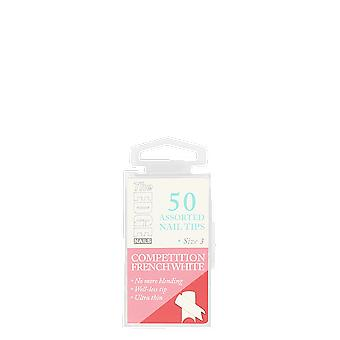 The Edge Nails Competition French White Assorted Nail Tips Size 3 (50 Pack)