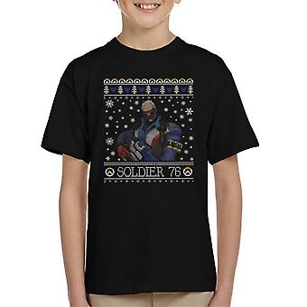 Soldier 76 Overwatch Christmas Knit Pattern Kid's T-Shirt