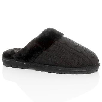 Ajvani kvinners flat vinter faux sheepskin fur foret slip på luksus muldyr tøfler sko