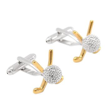 Sports Silver & Gold Golf Clubs & Ball Cufflinks Set Novelty Wedding Gift Quality