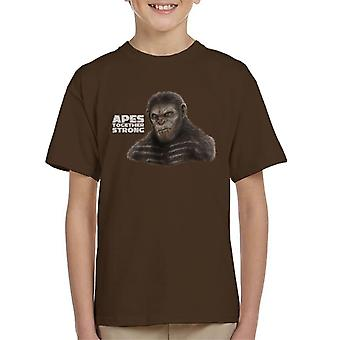 Caesar Planet Of The Apes Together Strong Kid's T-Shirt