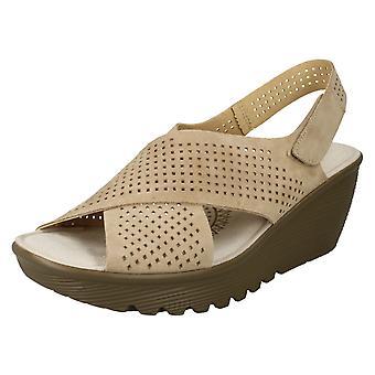 Mesdames Skechers Platform Peep Toe Sandals parallèlement infrastructures - cuir naturel foncé - UK taille 9 - UE taille 42 - taille US 12