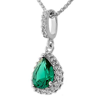 Orphelia Silver 925 Pendant Drop With Chain 42+3 Cm Emerald Color Zirconium  ZH-7226/EM