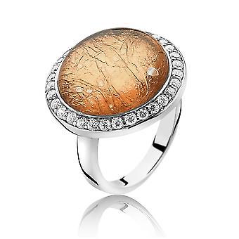 Orphelia Silver 925 Ring glas Rose Gold blad zirkonium ZR-3901/1