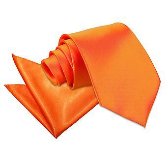 Satynowy krawat spalony pomarańczowy równina & placu kieszeni zestaw