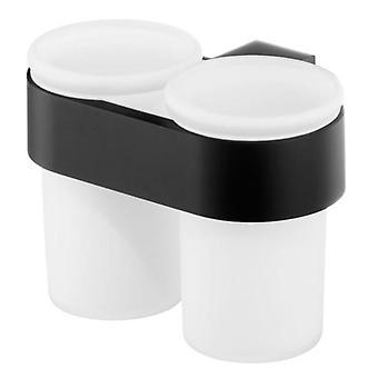Dubbel härdat glas Toothmug tandborste Cup badrum svart pulverlackerad Zamak